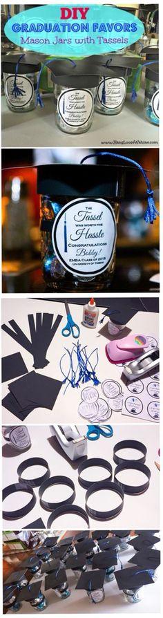DIY Graduation Favors - Mason Jars with Tassels!                                                                                                                                                     More