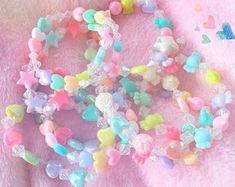 Kawaii Jewelry, Kawaii Accessories, Cute Jewelry, Beaded Jewelry, Jewellery, Pastel Fashion, Kawaii Fashion, Pulseras Kandi, Kandi Bracelets