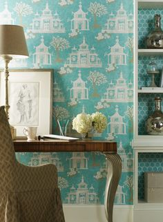 Chinoiserie wallpaper by York Wallcoverings.  This pattern is Pagoda Birdhouse.