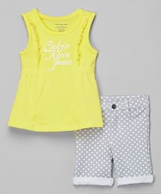 Love this Calvin Klein Jeans Yellow Logo Ruffle Top & Shorts - Infant, Toddler & Girls by Calvin Klein Jeans on #zulily! #zulilyfinds