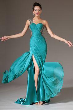 Turquoise Court Train One Shoulder Sheath Chiffon Sleeveless Dress