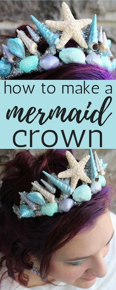Cosplay Costume How to make a DIY mermaid crown. This mermaid tiara tutorial works for kids or adults. I love the starfish and the colored shells together. Perfect for fantasy play, a wedding, festival or a halloween costume. Mermaid Costume Kids, Mermaid Halloween Costumes, Diy Costumes, Mermaid Fancy Dress Costume, Mermaid Dress For Kids, Mermaid Costume Makeup, Halloween Costume Wedding, Mermaid Cosplay, Scary Halloween Makeup