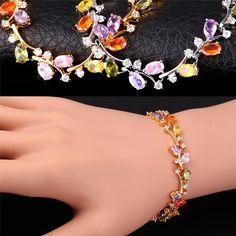 Luxury Colorful AAA Zircon Bracelet For Women  Gold/Platinum Plated European Flower Chain Bracelets
