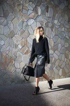 love the leather skirt! (shop your perfect leather garments at www.bluegold.nl)