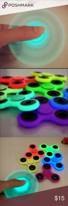 Luminous Glow in the Dark fidget spinner- 6 colors Brand new glow in the dark luminous fidget spinners available in 6 colors, Mint Blue, Yellow, Lemon Green, Turquoise, Red, purple. Price is for one! Will ship this same day on transactions completed prior to 4pm CST Accessories