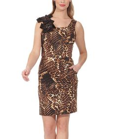 Take a look at this Brown Safari Shaper Dress by NUE by Shani on #zulily today!