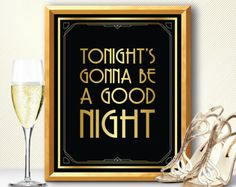 Alcohol sign Great Gatsby decorations art deco by manyprints