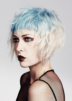 Pastel blue and platinum blonde hair - Love her makeup too.   6 vincent nobile by Hair Expo, via Flickr