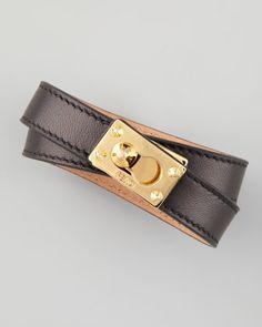 Leather Wrap Bracelet, Black by Fendi at Neiman Marcus. #NMFallTrends