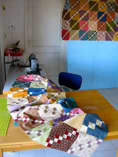 Stitching by http://quiltingstories.blogspot.com/2015/02/sewing-stitching-double-four-patch-quilt-top.html