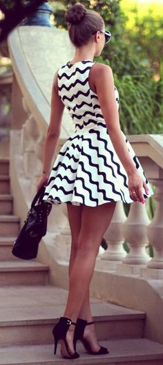 summer outfits. white black striped short dress. black heels, handbag. women fashion apparel style