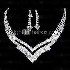 Gorgeous Rhinestone Two Piece Cutout V Design Ladies' Jewelry Set (45 cm) - USD $ 12.99