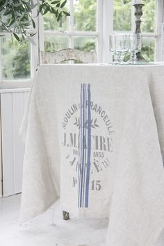 """a-cottage-in-the-woods: """" source: Jeanne d'Arc Living ~ French flour sack linen tablecloth """" Distressed Furniture, Rustic Furniture, Handmade Furniture, Furniture Design, Jeanne Darc Living, Jeanne D'arc, Vibeke Design, Cottage In The Woods, Cottage Chic"""