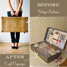 Creative Craft Storage Vintage Suitcase by blog-inkspotworkshop #Storage #Suitcase_Craft_Storage #inkspotworkshop