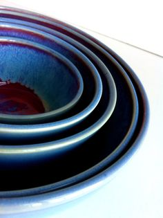 MADE TO ORDER Wheel Thrown Red And Blue Porcelain by NewMoonStudio