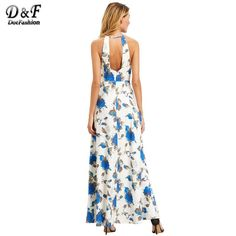 16f73d531d11 Beach Summer Dress Women White Floral Print Elegant Halter Maxi Dresses Cut  Out Back Clothing 2017