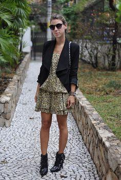glam4you - nati vozza - look - vestido - blazer - boots - balmain boots - dress - leopard print