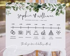 Wedding Timeline Sign / Wedding Itinerary Agenda Icons / | Etsy Wedding Reception Schedule, Text Signs, Forest Design, Wedding Timeline, Custom Fonts, Monogram Initials, Special Day, Create Yourself, Printable