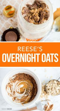 Overnight Oats Reese's Overnight Oats- Our best skinny breakfast recipe yet!Reese's Overnight Oats- Our best skinny breakfast recipe yet! Breakfast And Brunch, Breakfast Options, Breakfast Bowls, Breakfast Recipes, Dinner Recipes, Overnight Oatmeal, Overnight Breakfast, Healthy Overnight Oats, Cocina Diy