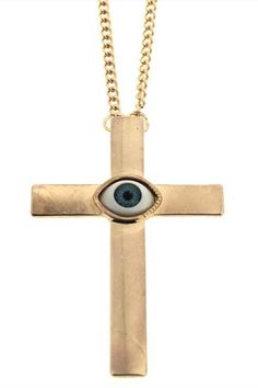 Oversized Eye Cross Charm Pendant Necklace  $12.34 #romwe