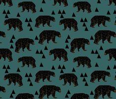 Geometric Bear fabric by papersparrow on Spoonflower - custom fabric