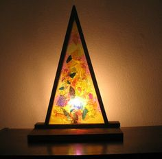 Vintage Wood and Stained Glass TV / Table Lamp!