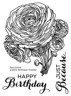 Ranunculus - Greenhouse Society stamp from Technique Tuesday. I'm a fan!