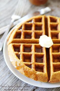 Brown Butter Pumpkin Waffle Recipe on http://twopeasandtheirpod.com The best pumpkin waffle recipe!