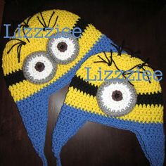 Minion Hat - Halloween Delivery - Crochet Minion - baby, toddler, kids size - Cute Halloween Costume - Despicable Me - Earflap or Beanie on Etsy, $35.00
