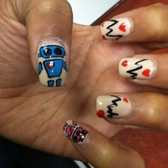 #love #lifeline #robots #hearts #nailart