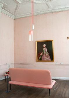 Studio WM paired this minmal, soft pink loveseat with their new gradient lamp in the pink room of the Oranienbaum Palace in Russia. ---- 12 Times a Pink Sofa Made the Room Home Design, Design Room, Design Bathroom, Floor Design, Kitchen Design, Modern Design, Interior Design Inspiration, Color Inspiration, Design Ideas