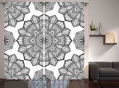Ethnic Decor Curtains by Ambesonne Indian Hippie Celestial Look Floral Pattern Abstract Art Window Drapes 2 Panel Set for Living Dining Room Bedroom Kids Room 108 X 84 Inches Black and White *** Click for more Special Deals #homedecor#decor#homeideas#decor#homesweethome#homestyle#DIY