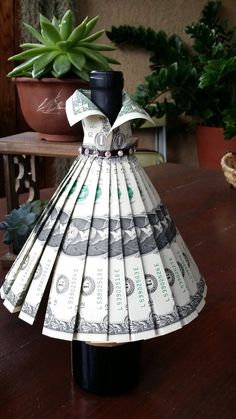 "Wine bottle cover - Wedding Gown - "" Best Picture For weird trends For Your Taste You are looking for something, and it is going t - Dollar Bill Origami, Money Origami, Dollar Bills, Origami Boxes, Origami Ball, Origami Paper, Homemade Gifts, Diy Gifts, Creative Money Gifts"