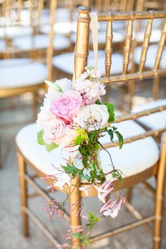 Gold chiavari chairs with florals down the aisle. Photography: Kate Webber Photography - katewebber.com  Read More: http://www.stylemepretty.com/2014/08/25/romantic-outoor-wedding-at-annadel-estate-in-sonoma/