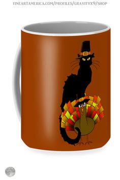 * Le Chat Noir With Turkey Pilgrim Thanksgiving Mug by #Gravityx9 at FineArtAmerica and Pixels * This Thanksgiving design is available on tee shirts, stickers, home decor & more. * Thanksgiving coffee mugs * holiday coffee mug * coffee mugs gift ideas * Thanksgiving coffee mugs gift ideas * gift ideas coworker * gift ideas friends * gift ideas adults * gift ideas coffee lovers * #Thanksgiving #Thanksgivingmug #holidaymug #spoofingthearts #Thanksgivingcoffeemug #Fallseasonsbest #lechatnoir…