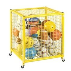 The Champion Sports Half Size Locker keeps all of your sports balls, or playground balls organized and accessible. Ball Storage, Storage Cart, Locker Storage, Steel Cage, Champion Sports, No Equipment Workout, Grid, All In One, Yellow