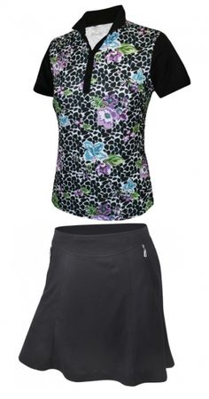 1423f66681f Black Monterey Club Ladies   Plus Size Golf Outfits (S S Shirt   Skort)!  More stylish plus-size outfits at. Lori s Golf Shoppe