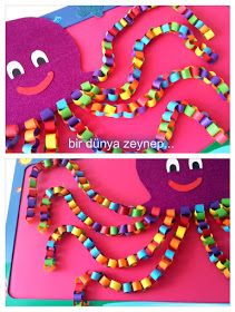 : ahtapot… (Octopus Craft for Kids) – My Pin Spring Crafts For Kids, Summer Crafts, Diy Crafts For Kids, Fun Crafts, Arts And Crafts, Paper Crafts, Octopus Crafts, Ocean Crafts, Under The Sea Crafts