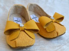 Yellow Ballerina Baby Shoes with Hair Bow Savannah by LaValya,