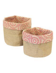 Reversable Hessian Woven Soft Basket Duo in Desert Bush Berries #basket #woven #home #hessian #kitchen