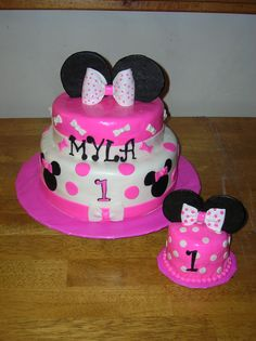 Myla& Minnie Mouse First Birthday Minnie Mouse First Birthday, First Birthday Cakes, Birthday Cake Girls, First Birthday Parties, Birthday Party Themes, First Birthdays, Birthday Ideas, Baby Shower Desserts, Minnie Mouse Cake