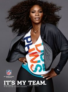 """The NFL recently decided to partner w/ Serena Williams, Melania Trump and Condoleezza Rice to advertise their team-themed apparel gear for a campaign called """"It's My Team."""" Certainly unique but strange as well. American Tennis Players, Condoleezza Rice, Venus And Serena Williams, Professional Tennis Players, Nfl Gear, Tennis Stars, Nfl Fans, Football Fans, Miami Dolphins"""