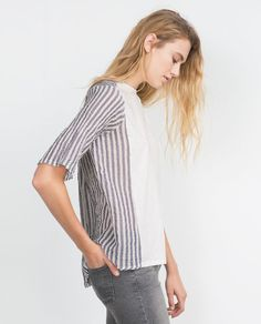 ZARA - TRF - MIXED FABRIC T-SHIRT