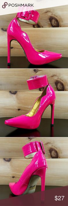 Mona mia Neon Pink pointy toe wife cuff pump 9 New in box more sizes at Twf.shoes Mona mia Shoes Heels