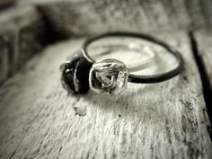 Tiny Silver Rose Ring  -  Stacking Handmade Fine Silver Rustic Rose By Pale Fish NY