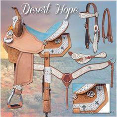 "14 Inch Silver Royal ""Desert Hope"" Barrel Saddle Pkg White Hair-Blue Suede #SilverRoyal"