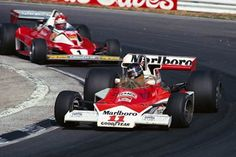 Brands Hatch, July 1976: James Hunt on his way to victory for McLaren in the British Grand Prix. He was later stripped of the win for illegally taking the restart of the race, promoting Ferrari's Niki Lauda (rear) to first place. © Schlegelmilch  © No reproduction without permission.