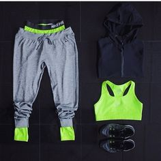 Workout//Attire//clothes//gym//fitness//grey//black//neon//green//sweats//sporty//shoes//jacket//sports//bra//goals//