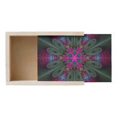 Mandala From Center Colorful Fractal Art With Pink Wooden Keepsake Box