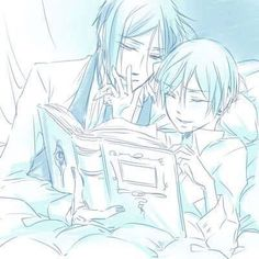 Black Butler Sebastian Michaelis and Ciel Phantomhive(again I DON'T SHIP them) This pic is just so Cute and Perfect with them reading (I think) a bed time story!Ciel looks so happy with Sebastian